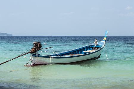mar, Costa, barco, azul, cielo, Playa