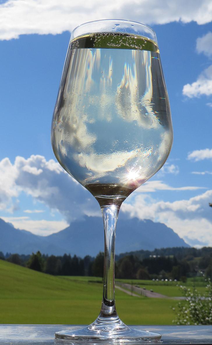 got d'aigua, reflectint, cel, estat d'ànim