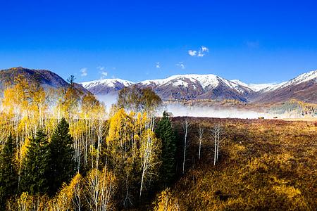 Kína, északi, hó a hegyen, táj, ősz, természet, hegyi