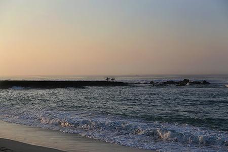 plage, Côte, aube, tombée de la nuit, horizon, nature, océan