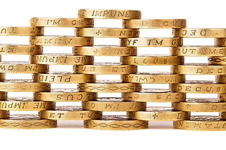 ngăn xếp, vàng, tiền xu, nền tảng, kinh doanh, tiền, Mô hình