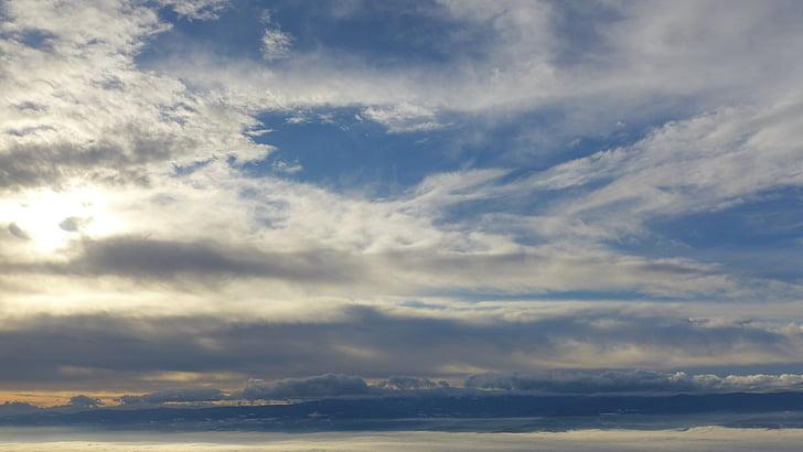 niebo, chmury, kontekst, światło słoneczne