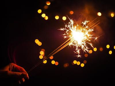 focs artificials, vacances, celebració, Nadal, bokeh, fosc, nit