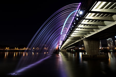 night view, river, daejeon expo bridge, reflect, bridge lighting, chapter impressions, night scenery