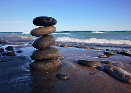 roches, empilé, Balance, rivage de la plage, mer, plage, Pebble