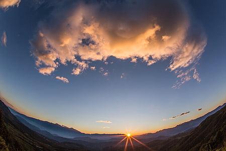 el paisatge, cel, posta de sol, gran angular