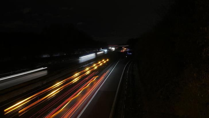 l'autopista, nit, llum, exposició prolongada, trànsit, Centre d'atenció, traçador