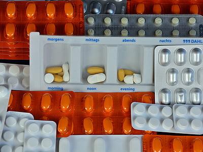 tabletes, medicīnas, uz veselību, slims, tabletes, dziedēt, blistera iepakojuma