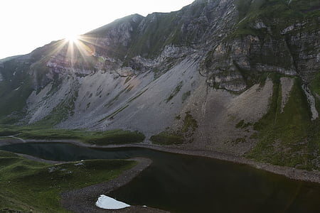 sunrise, eisee, red horn, bergsee, morgenstimmung, lighting, mountains