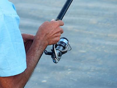angel, angler, telescopic rod, fishing line, fishing reel, fishing, crank