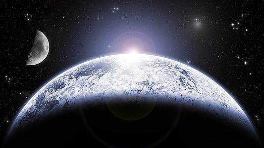 Lluna, planeta, espai, l'astronomia, galàxia, cel, univers
