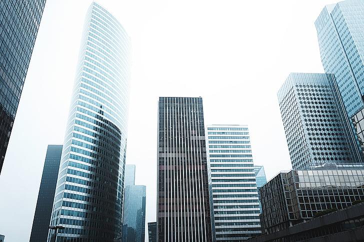 arquitectura, edificis, ciutat, paisatge urbà, vidre, horitzó, urbà