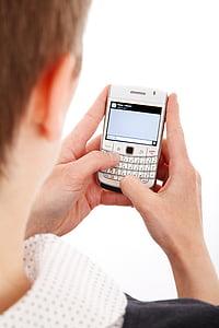 Móra, negoci, cèl·lula, comunicació, contacte, teclat, missatge