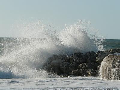 sea, ocean, side, atlantic, france, waves, water
