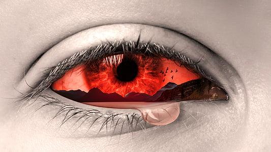 eye, manipulation, tears, art, sad, crying, design