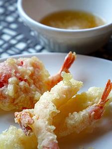 tempura, japansk, mat, stekt, sjømat, Japan, reke