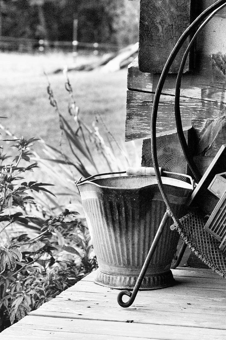 coal bucket, porch, farm, country, outside, house, home