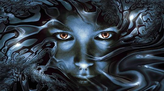 face, view, metallic, shiny, eyes, noble, head