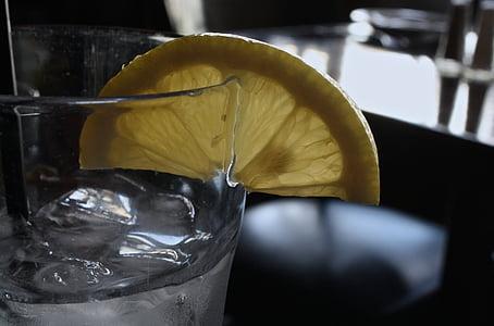 vidre, l'aigua, llimona, Restaurant, begudes, set, estil de vida