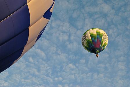 varmluftsballonger, flygande, luft, korg, transport, äventyr, flyg