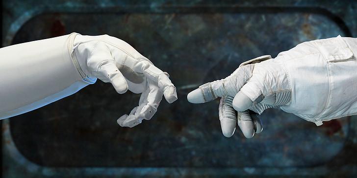 robonauts, aanraken van de vingers, vingers, groet, vrienden, machines, vingervlugge