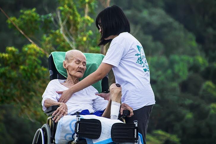 Hospicio, cuidado, de enfermería, cuidado, antiguo, personas de edad avanzada, paciente