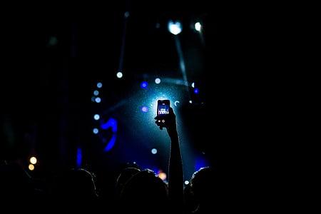 concert, crowd, dark, people, silhouette, smartphone, music