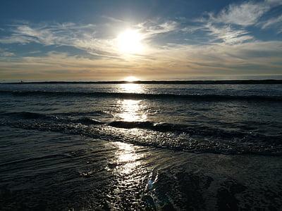 Carlsbad, Califòrnia, platja, al costat del mar, posta de sol, oceà, Costa