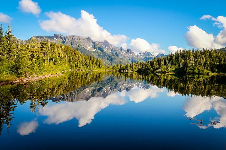 Llac, l'aigua, natura, l'estiu, paisatge, reflexió, muntanya