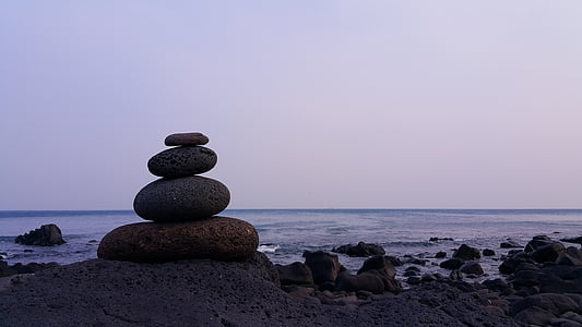 balans, havet, Meditation, linjen, fortfarande, fred, sten