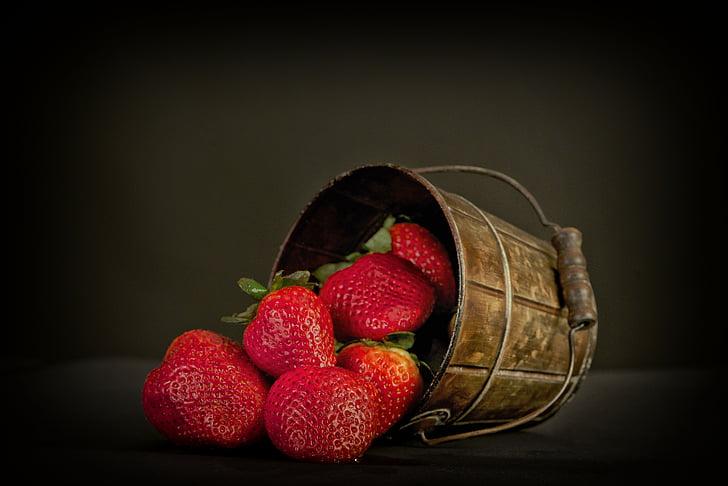 fruita, maduixes, vermell, dolç, aliments, bóta, Hort