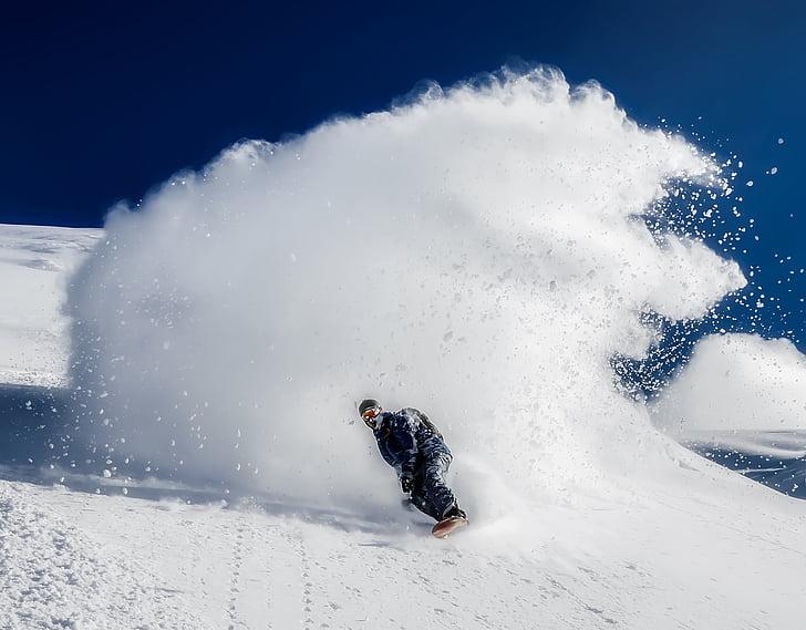surf de neu, pista d'esquí, muntanyes, neu, l'hivern, descens, HDR