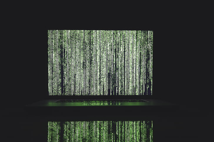 kodu, bilgisayar, Siber, karanlık, veri, şifreleme, Yeşil