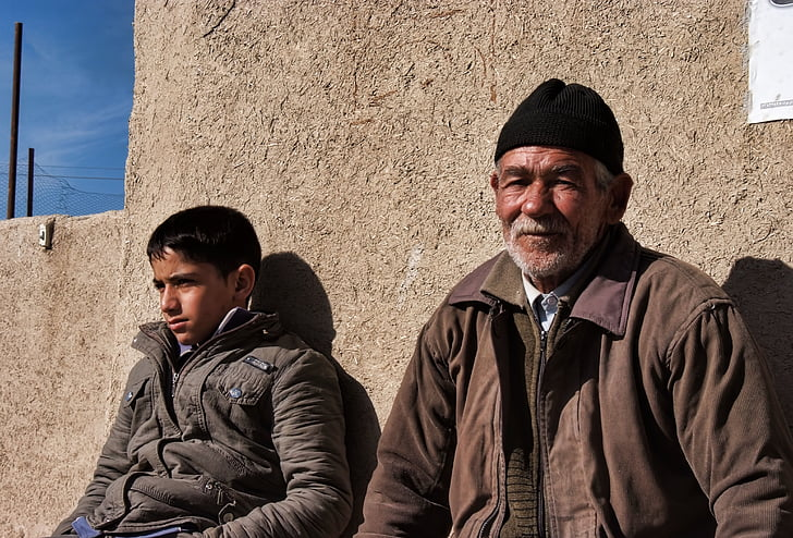grandfather, iran, isfahan, farmer, grandson, people