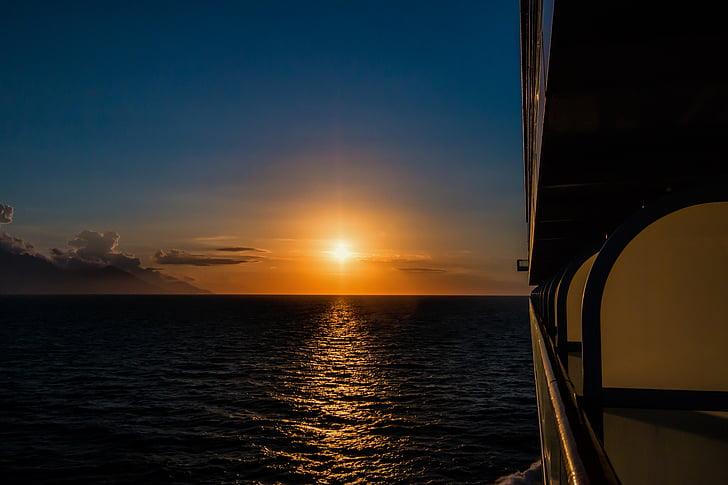 일몰, 바다, 일몰 바다, 잔 광, abendstimmung, 태양, 구름