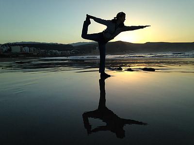 balans, Yoga, stranden, koppla av, solnedgång, kvinnor, personer