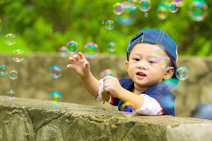 jugar, Parc, nen, ku canyella, nen, el parc, bombolles de sabó