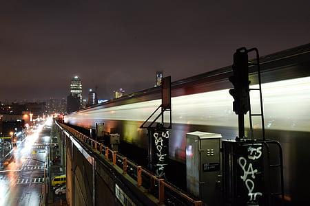 city, downtown, illuminated, night, road, train, transportation system