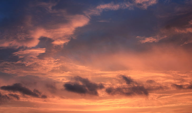 sunset, sky, sun, clouds, orange sky, evening sky, red sky