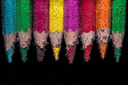 χάντρες, μολύβια χρώματος, στο νερό, φυσαλίδες αέρα, στάγδην, υγρό, προσκολλημένο wasserperlen malstifte