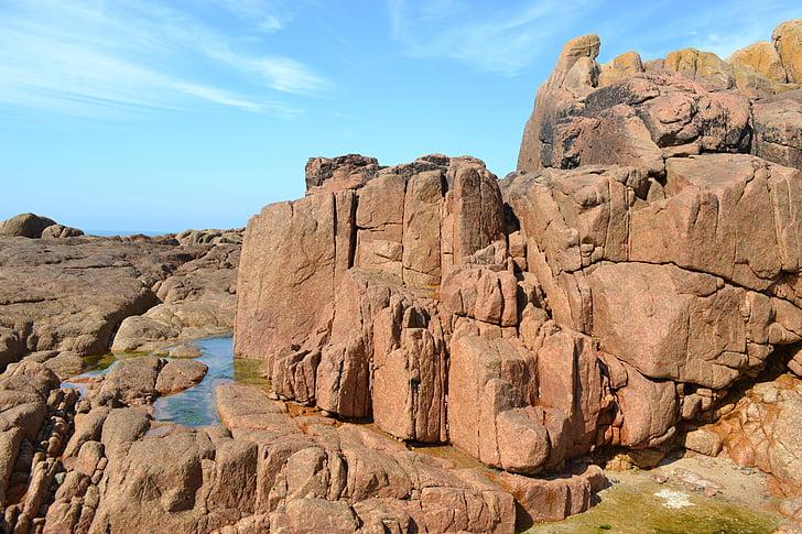 pedras, linha de costa rochosa, Jersey, Ilhas do canal, pedras vermelhas, piscinas de pedra, erosão
