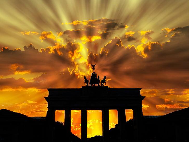 brandenburger tor, พลบค่ำ, รุ่งอรุณ, ทไวไลท์, พระอาทิตย์ตก, เบอร์ลิน, เยอรมนี