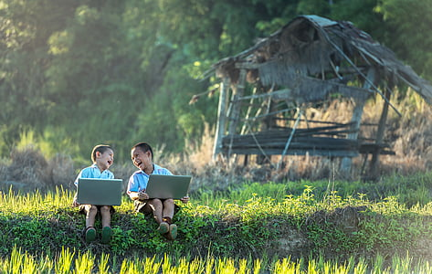 children, laugh, study of, laptop, vietnamese, thailand, enjoy