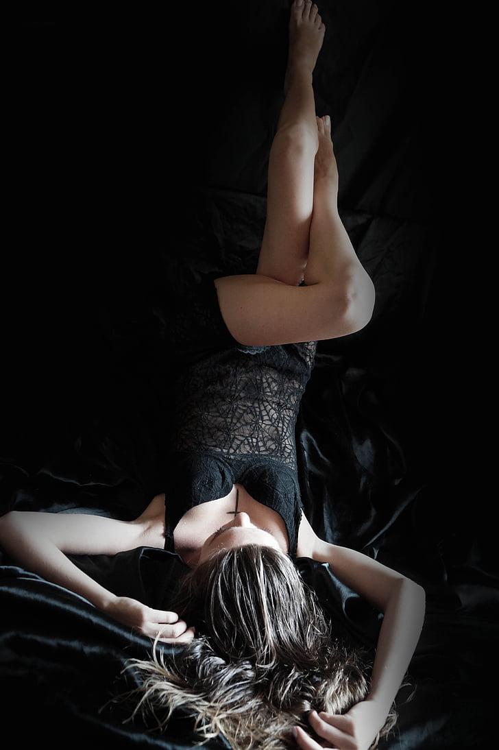 Dessous, eròtica, llenceria, nuesa, atractiu, estirament, roba interior