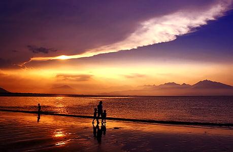 solnedgång, Sundown, da nang bay, Danang city, Vietnam, stranden, havet
