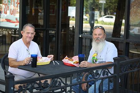 men, lunch, restaurant, two, eating, beard, elderly