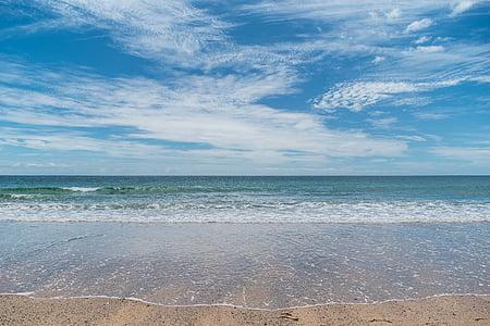 пляж, волны, песок, мне?, океан, небо, воды