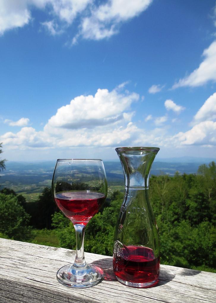 vino, vinograd, bokal, staklo, piće, boca, kup