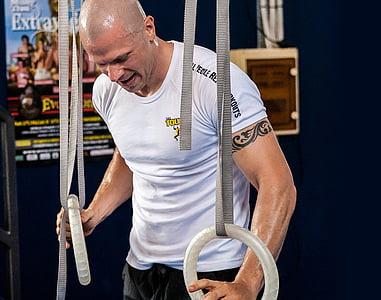 olimpisko gredzeni, gredzeni, treniņa, apmācības, CrossFit, fitnesa, trenažieru zāle