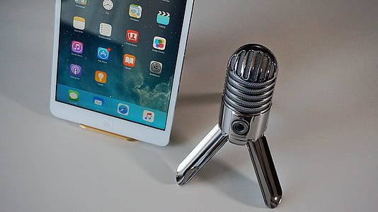 microphone, tablet, podcast, condenser microphone, home office, technology